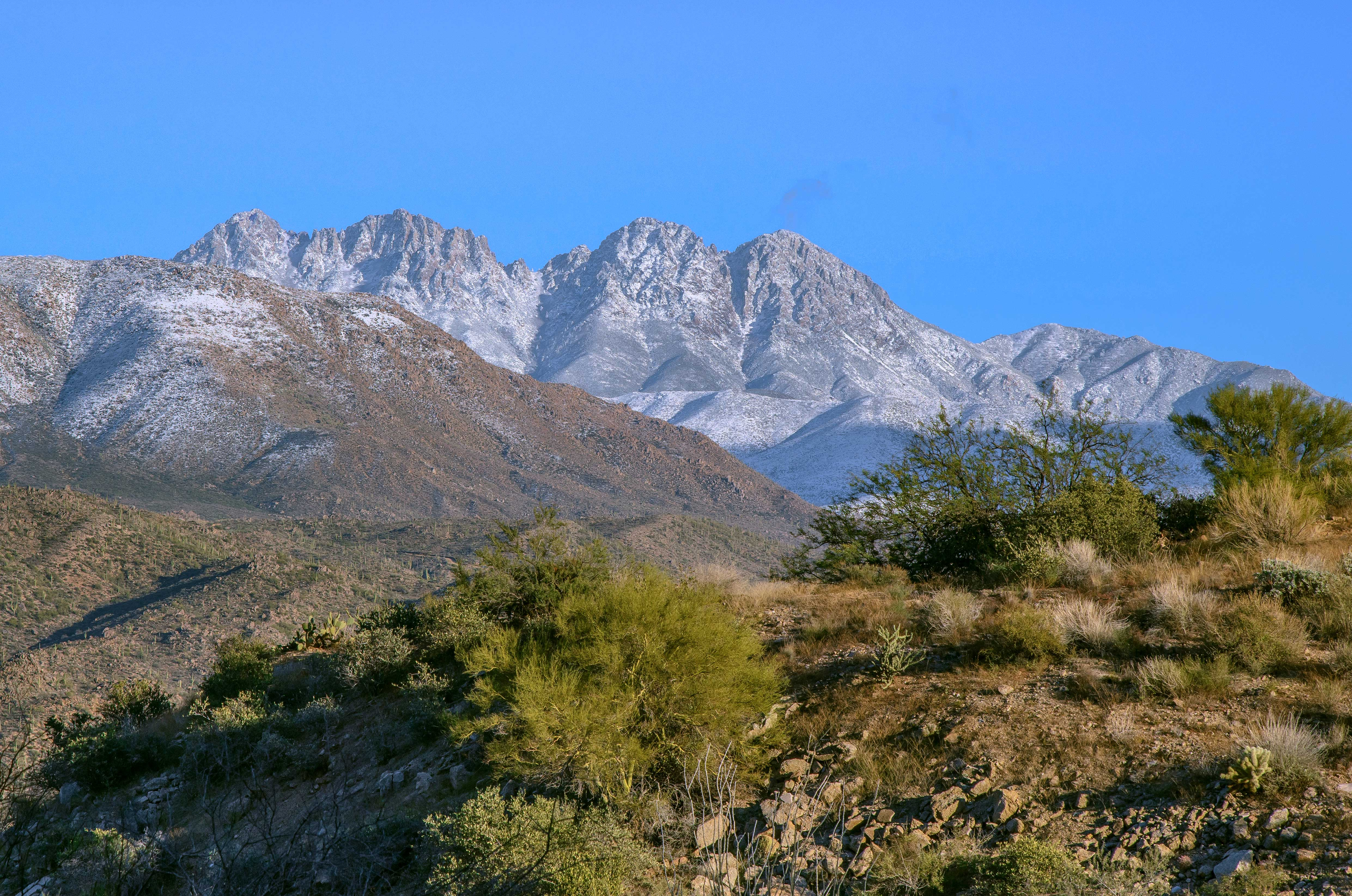 Light dusting of snow on Four Peaks