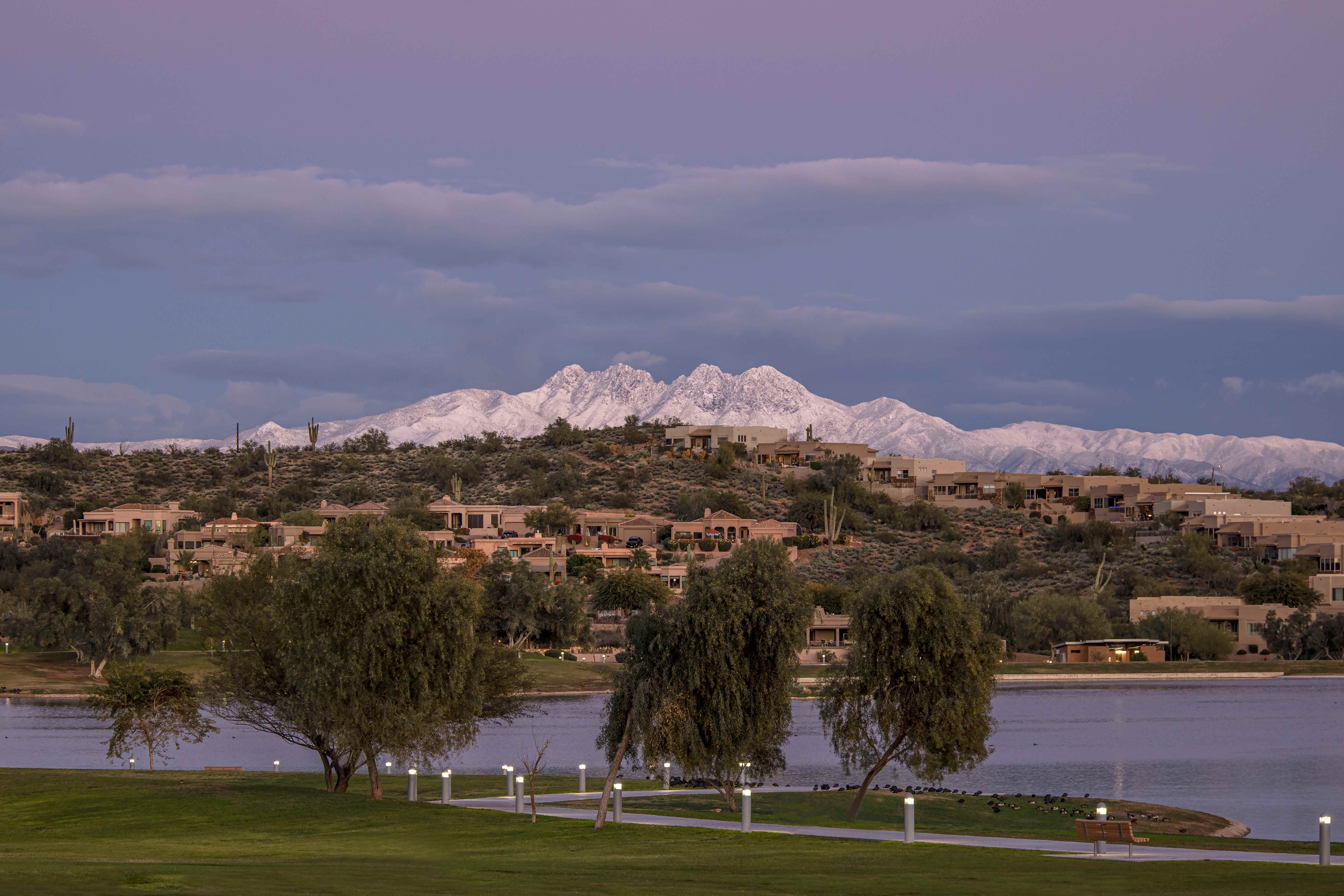 Snow on Four Peaks over Fountain Park